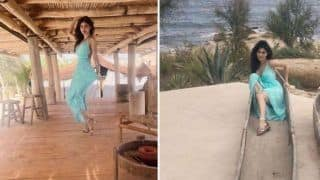 Naagin Fame Mouni Roy Looks Hot as She Strikes a Sexy Pose in Green Pastel Dress During Her Greece Vacation - See Pictures