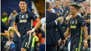 Cristiano Ronaldo Shown Red Card on Champions League Debut For Juventus, Still Win 2-0 Against Valencia--WATCH