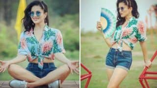 Sunny Leone Looks Smoking Hot in Floral Crop Top And Denim Shorts on The Sets of Splitsvilla 11 - See Pictures