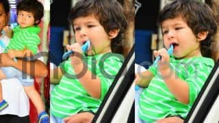 Taimur Ali Khan's Latest Cute Pics Have Him Enjoying His New Set of Blue Cutlery