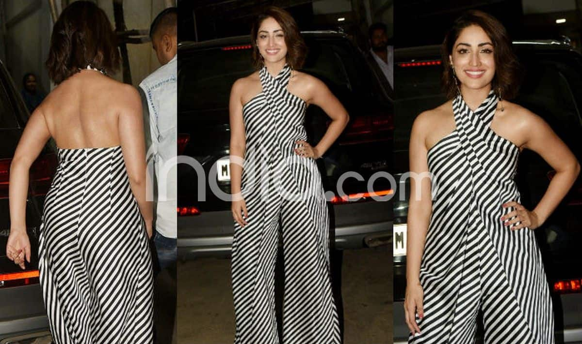 534f122294f Yami Gautam Wears a Backless Halter Neck Black And White Jumpsuit And Does  Wonders in it