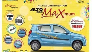 Maruti Suzuki Alto 800 'Maximum' Limited Edition Launched: Price in India Starting from INR 2.94 lakhs