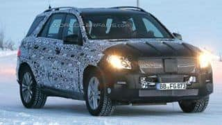 Mercedes Benz M-Class facelift spied testing near Arctic Circle