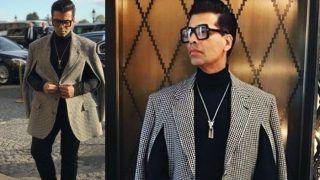 Karan Johar Attends The Paris Fashion Week in a Chick Black And White Checkered Blazer - See Pics