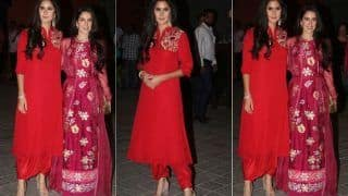 Katrina Kaif And Isabelle Kaif Twin in Red at Arpita Khan Sharma's Ganesh Chaturthi Celebration, See Pics