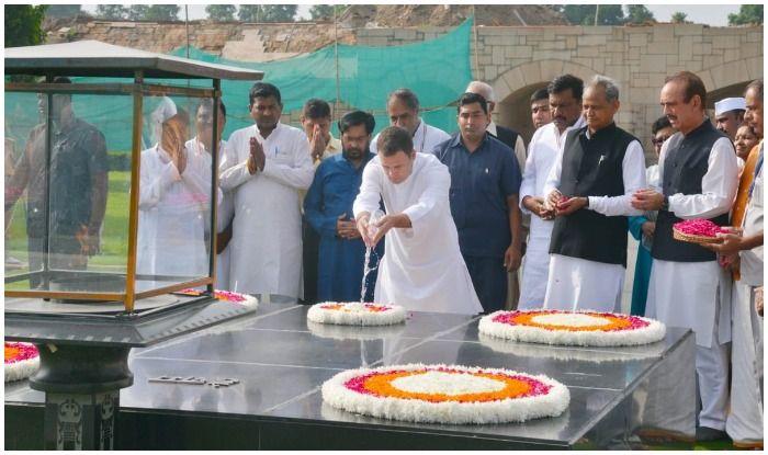 Image result for राजघाट पहुंचे राहुल गांधी ने महात्मा गांधी की समाधि पर चढ़ाया मानसरोवर का जल