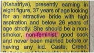 Sexist And Regressive Matrimonial ad Asks For Non-Smoker, Non-Feminist Bride; Twitter Fumes in Anger