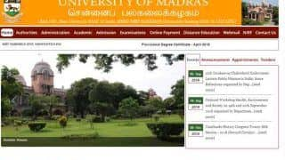 Madras University Exam 2018: UG/ PG November Results Announced; Check at results.unomac.in
