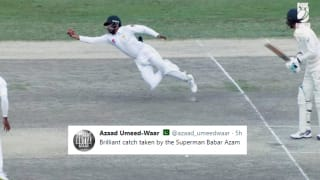 Pakistan vs Australia 1st Test in Dubai: Babar Azam Takes a 'Superman-Like' Catch Dismiss Mitchell Starc, Sends Twitter in Frenzy as Usman Khawaja's Ton Ensured Tie Ends in Draw -- WATCH