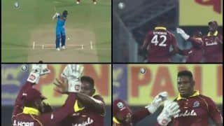 India vs West Indies 1st ODI: Oshane Thomas Picks Maiden Wicket of Shikhar Dhawan, Slaps Shai Hope in The Face by Mistake -- WATCH
