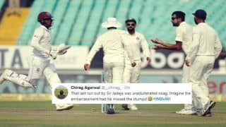 India vs West Indies 1st Test Day 2 at Rajkot: Ravindra Jadeja Baffles Virat Kohli, Ravichandran Ashwin, Cheteshwar Pujara as he Run Outs Shimron Hetmyer Affecting Run Out, After he Hits Maiden Century - WATCH