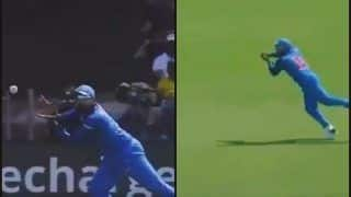 India vs West Indies 3rd ODI at Pune: Rohit Sharma Takes a Sharp First Slip Catch to Dismiss Kieron Powell of Jasprit Bumrah -- WATCH