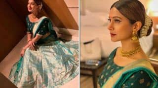 Bepannaah Fame Jennifer Winget Looks Super Hot as She Strikes a Pose in Green Lehenga During Durga Puja in Kolkata - See Pictures