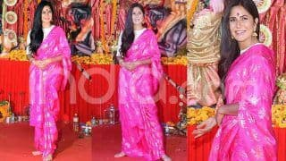 Katrina Kaif Wears a Bright Pink Masaba Gupta Saree to Visit a Durga Puja Pandal And Looks Like Royalty
