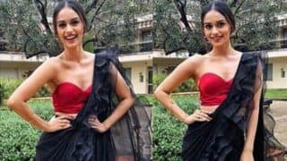 Miss World 2017 Manushi Chhillar Looks Super Hot in Red Tube Blouse And See-through Black Saree - See Picture