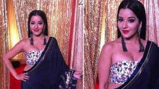 Bhojpuri Hot Bomb And Nazar Fame Monalisa Looks Her Sexiest Best in Midnight Blue Saree And Floral Tube Blouse at The Red Carpet of Star Parivaar Awards - See Pics