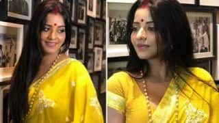 Bhojpuri Hot Bomb And Nazar Fame Monalisa Looks Sizzling Hot in Yellow Saree And Bindi - See Picture