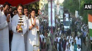अब नर्मदा भक्त राहुल गांधी आरती में लीन नजर आए, फिर निकले लंबे रोड शो पर