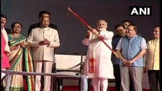 Prime Minister Narendra Modi Burns Effigy of Ravan During Dussehra Celebrations