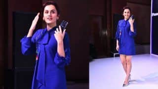 Taapsee Pannu Attends an Event in Mumbai in a Short Comfy Blue Embroidered Dress; See Latest Pics