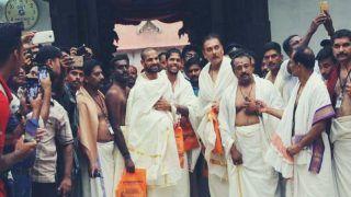 India vs West Indies 5th ODI Thiruvananthapuram: Ravi Shastri, Umesh Yadav, Shikhar Dhawan Dressed in Local Attire Visit Sree Padmanabhaswamy Temple -- PICS