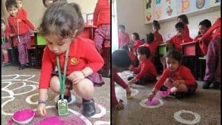 MS Dhoni's Daughter Ziva Making Rangoli at School is The Sweetest Visual This Diwali -- PICS