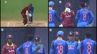 India vs West Indies 5th ODI at Trivandrum: Ravindra Jadeja Convinces MS Dhoni, Virat Kohli to Take DRS, Gets it Right And Ends Shimron Hetmyer's Innings -- WATCH