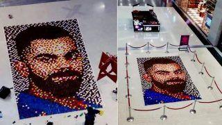Artist Creates World's 'Largest' Diya Mosaic Ahead of Diwali as Tribute For Virat Kohli After Kerala Fans Make a 35-Feet Cutout of MS Dhoni Outside Greenfield Stadium -- WATCH