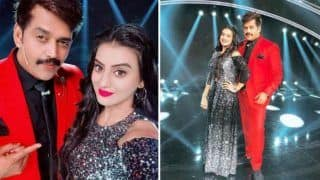 Bhojpuri Sizzler Akshara Singh Looks Super Hot in Shimmery Gown And Red Lips as She Poses With Ravi Kishan at Sa Re Ga Ma Pa Little Champs Stage - See Pictures