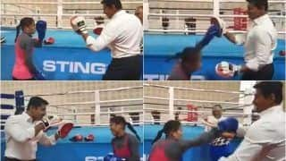 Champion Boxer Mary Kom Trades Punches with Sports Minister Rajyavardhan Singh Rathore in 'Friendly Bout' | WATCH VIDEO