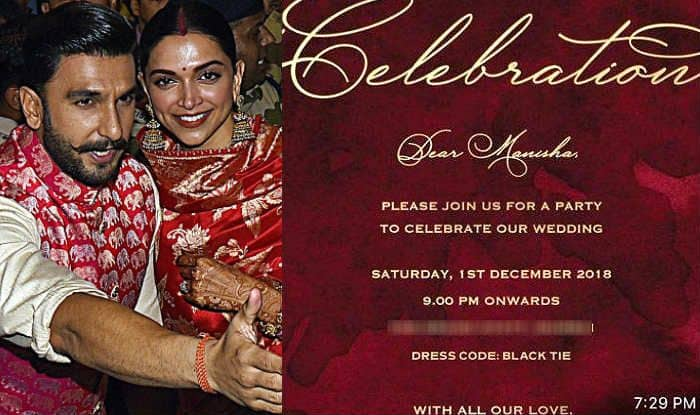 Ranveer Singh-Deepika Padukone Wedding Reception Card is ...