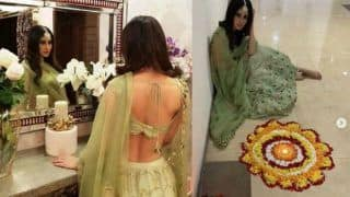 Naagin Fame And Gold Actress Mouni Roy Looks Smoking Hot as She Flaunts Her Sexy Back in Pista Green Lehenga – See Pictures