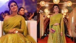 Priya Prakash Varrier Looks Hot And Beautiful in Golden-Green Lehenga, Pictures Will Make You go Crazy