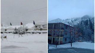 VIDEO: जम्मू-कश्मीर में बर्फबारी व बारिश से लुढ़का पारा, भू-स्खलन के चलते हाइवे बंद