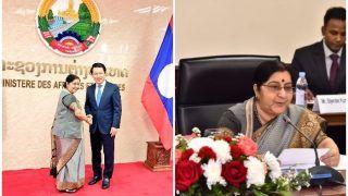 विदेश मंत्री सुषमा स्वराज दो दिवसीय लाओस यात्रा पर, दोनों देशों के बीच रक्षा व आपसी सहयोग को बढ़ावा
