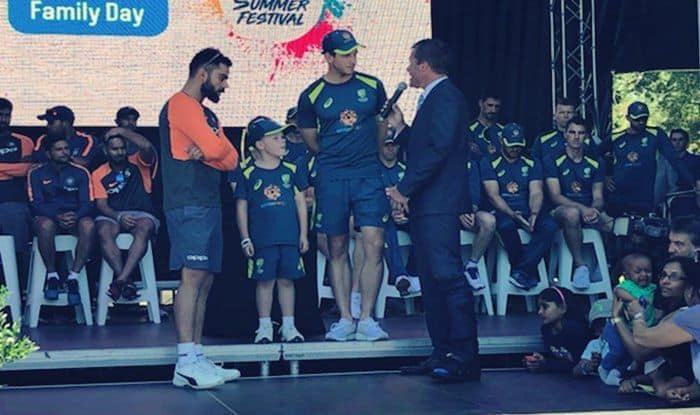 Australia Vs India 3rd Test Virat Kohli Tim Paine Share Stage With Seven Year Old Archie Schiller Watch India Com