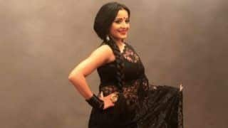 Bhojpuri Bomb And Nazar Fame Monalisa Looks Hot in Black See-through Saree And Red Lips - See Pictures