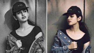 ऑल ब्लैक-डेनिम जैकेट में Priya Prakash Varrier का Swag, यहां देखें खास तस्वीरें...