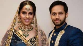 Saina Nehwal-Parupalli Kashyap Wedding Reception: Newlyweds Colour Coordinate in Sabyasachi's Indigo Outfit - See Pictures