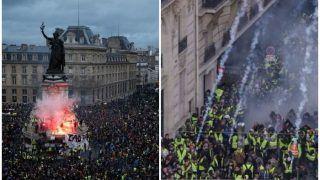 फ्रांस में 'Yellow Vest Protest' जारी, मैक्रों के नीतियों के खिलाफ जुटे कई प्रदर्शनकारी हिरासत में