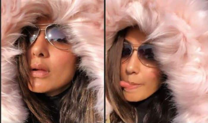 TV Hottie Hina Khan Enjoys Winters While Playing With Fur Jacket in Jammu, Check Cute Pictures
