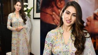 Sara Ali Khan Looks Ethereal in Beaded Suit by Abu Jani-Sandeep Khosla, Promotes Kedarnath With Sushant Singh Rajput in Delhi, See Pictures
