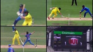 India in Australia 2019, 3rd ODI MCG: MS Dhoni Shows Lightning Quick Reflexes to Send Shaun Marsh Packing, Yuzvendra Chahal's Double Blow Dents Australia | WATCH