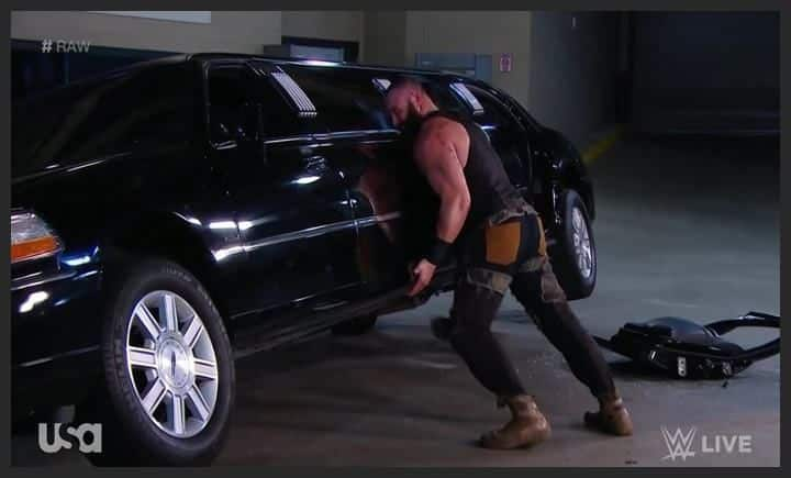 Braun Strowman destroys WWE Chairman Vince McMahon's limousine-Picture credits-WWE