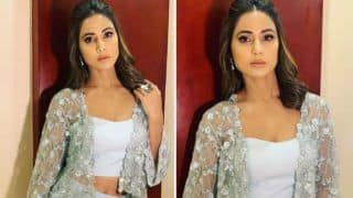 Television Hottie Hina Khan Looks Sexy And Bold in Sheer Grey Outfit And Net Shrug in Her Latest Instagram Pictures