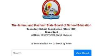 JKBOSE Results 2018: Class 10 Kargil Division Results For Annual Regular, Private Candidates Released, Check at jkbose.ac.in