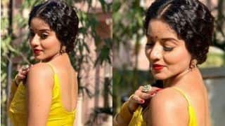 Bhojpuri Hottie And Nazar Fame Monalisa Looks Sexy AF in Yellow Suit And Bold Red Lips in Her Latest Pictures