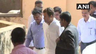 राहुल गांधी ने गोवा के मुख्यमंत्री मनोहर पर्रिकर से की मुलाकात