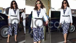 Sonam Kapoor Looks Pretty as a Picture Sporting Curls And Dressed in Blue And White Ensemble