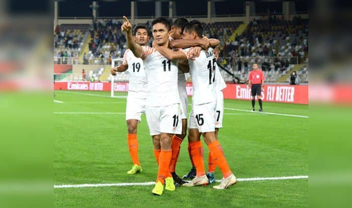 Sunil Chhetri celebrates a goal with his teammates during AFC Asian Cup 2019_Twitter